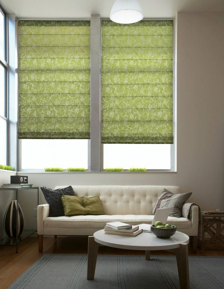 green fabric blinds shades  The patterned flat panel
