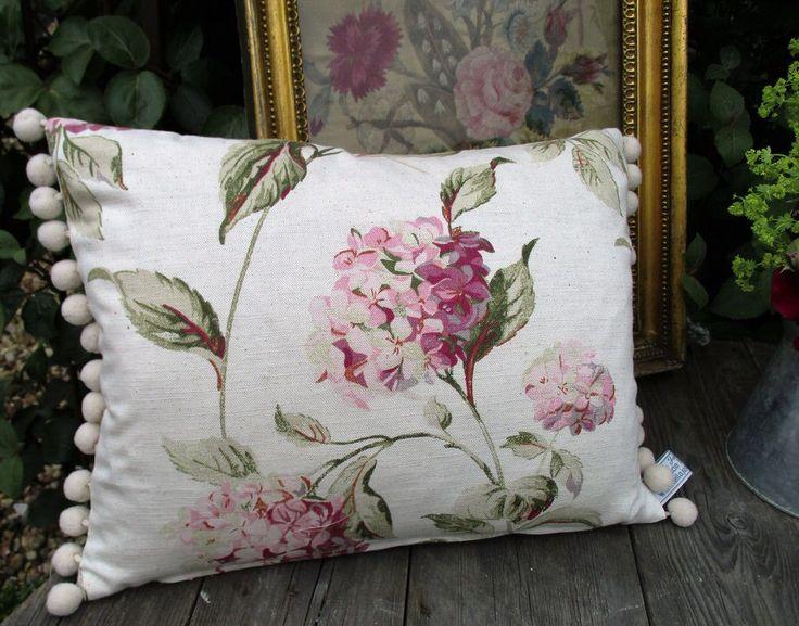 Vintage Laura Ashley Fabric - Pink Hydrangea Pillow/Cushion with Pom Pom Trim by EllaJenkinsDesigns on Etsy