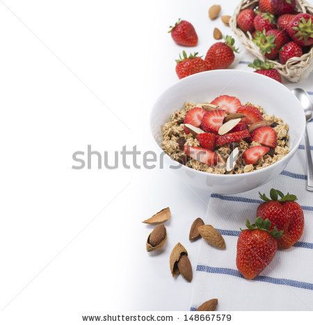 Granola with strawberries and almonds