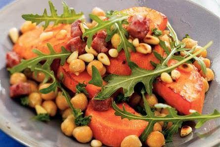 Salade van zoete aardappel en kikkererwten: top!