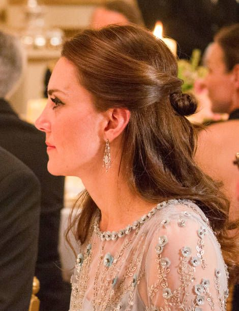 Catherine Duchess of Cambridge attend a dinner at the British Embassy on March 17 2017 in Paris France The Duke and Duchess are on a two day tour of...