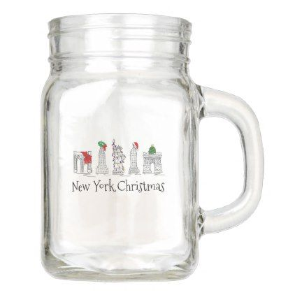 #New York City Christmas NYC Holiday Landmarks Mason Jar - #drinkware #cool #special