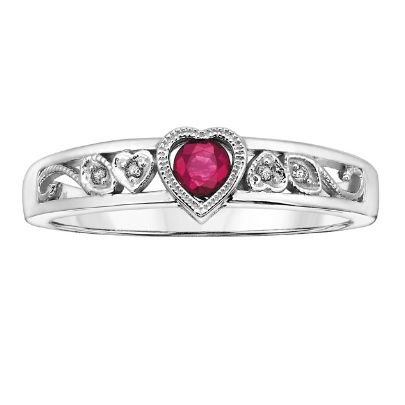9ct White Gold Diamond Ruby Heart Ring 51X19WG-10RUB from The Jewel Hut Collection at £190.00