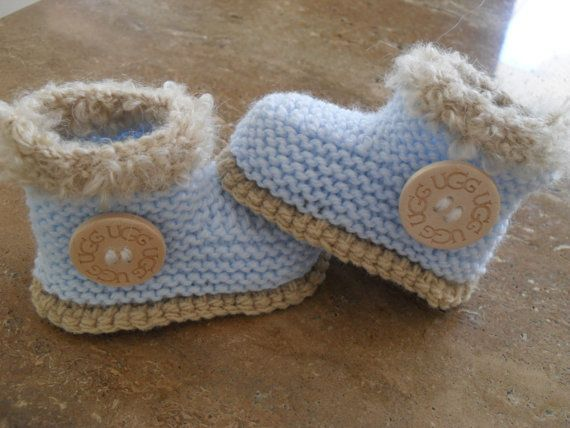 Hand Knitted Baby Boy Boots/Booties - Size 3 to 6 Months Knitted baby, Boys...
