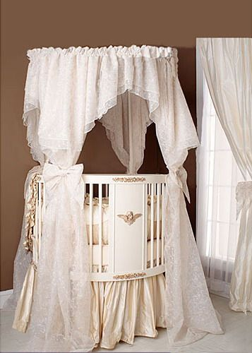 Elegant White Baby Nursery Round Crib Bedding Ideas