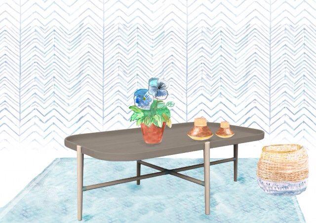 Sketch Roski Coffee Table on GlobeWest rug, Samba Baskets and Tilda Tealights. Illustration by @homedrawn