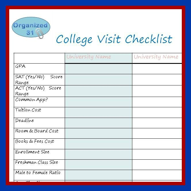 college visit checklist free student planners too college