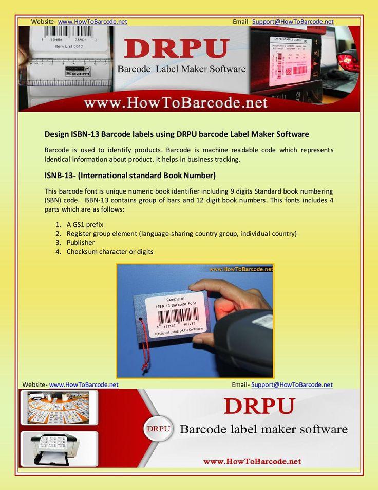 Design isbn 13 barcode labels using drpu barcode label maker software