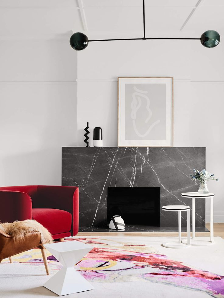 black marble fireplace, design by Watts Studio