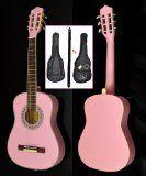 #Strumentimusicali #9: Ts-Ideen 5288 - Chitarra da concerto 1/2 per bambini di 6-9 anni, con set di accessori incluso (custodia imbottita, tracolla, corde, diapason), colore rosa