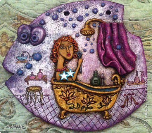 Картина панно рисунок Лепка Рыбка Легкость бытия  Тесто соленое фото 1