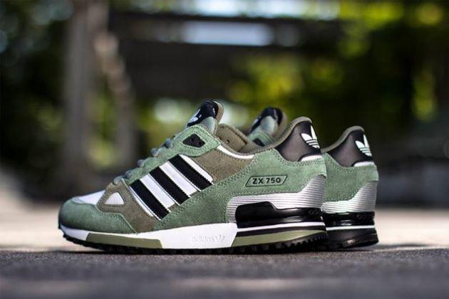 adidas Originals ZX 750 – Ft White / Black – Green   Adidas shoes ...
