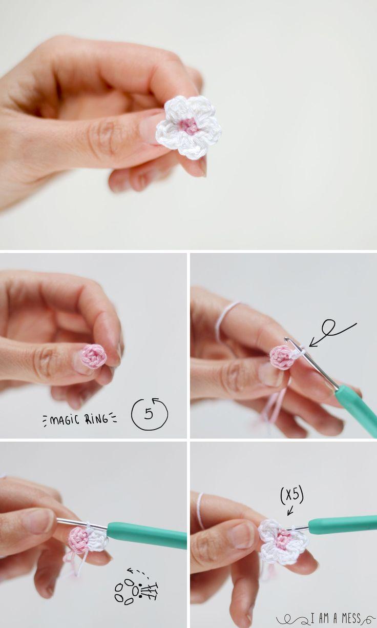 Pasos para hacer una flor de almendro de ganchillo. I am a Mess Blog