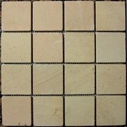 "Stone Mart USA's  3""x3"" White Sandstone Tumbled Mosaic Tile"