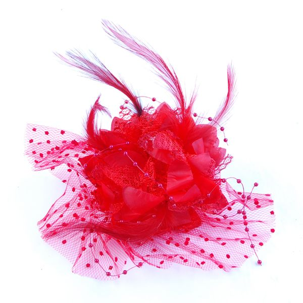 $2.49 Red Lady Dots Fascinator Flower Lace Mini Top Hat Cap Hair Clip - BornPrettyStore.com