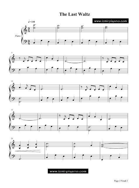 İzmir Özel Piyano Dersi: The Last Waltz Piyano Notaları -Engelbert Humperdi...