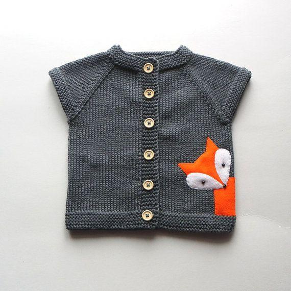 Tricot bébé renard gilet gris merino laine gilet avec les doux bébé renard gilet fait pour commander