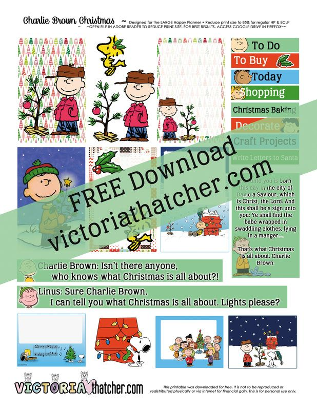 "Peanuts - Who DOESN""T LOVE CHARLIE BROWN!! Free planner printable  thank you Victoria Thatcher!"