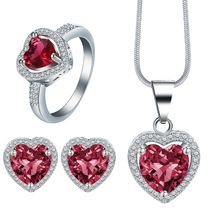 Top quality Girl Women Accessories Bridal  Silver Color Crystal Heart Necklace Earrings jewelry Sets Wholesale Fashion Jewellery www.bernysjewels.com #bernysjewels #jewels #jewelry #nice #bags