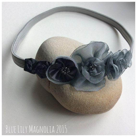 Grey flower headband hairband by Blue Lily by BlueLilyMagnolia