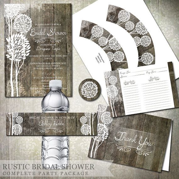 rustic wood bridal shower invitations recipe cards water bottle labels cupcake toppers thank you cards diy party printables