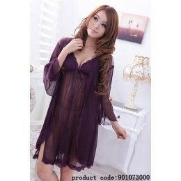 See through purple nightie with split and ribbon on side. Gown included.