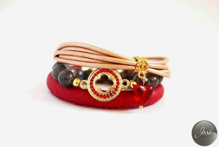 Grey reddness set ; bracelets set by Issi; snake skin; leather ; stones