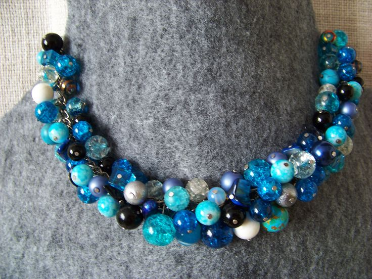 Blue glass necklace. Glass beads and silver.