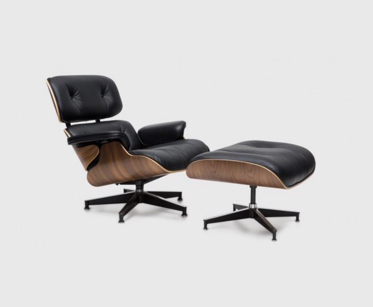 Living edge - Eames Classic Lounge & Ottoman. Available in palisander, seven-ply cherry, walnut and light ash shell with various upholstery options. Prices starting at $8,445