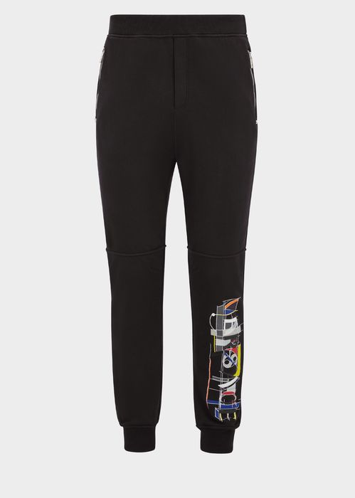 Versace Capitello  Sweatpants for Men | Official Website. Relaxed fit, cotton sweatpants, with side zip pockets and Capitello placement on a single leg.