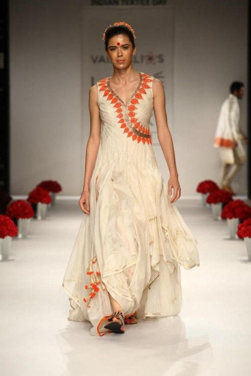 vaishali s lfw 2013 white coral long dress