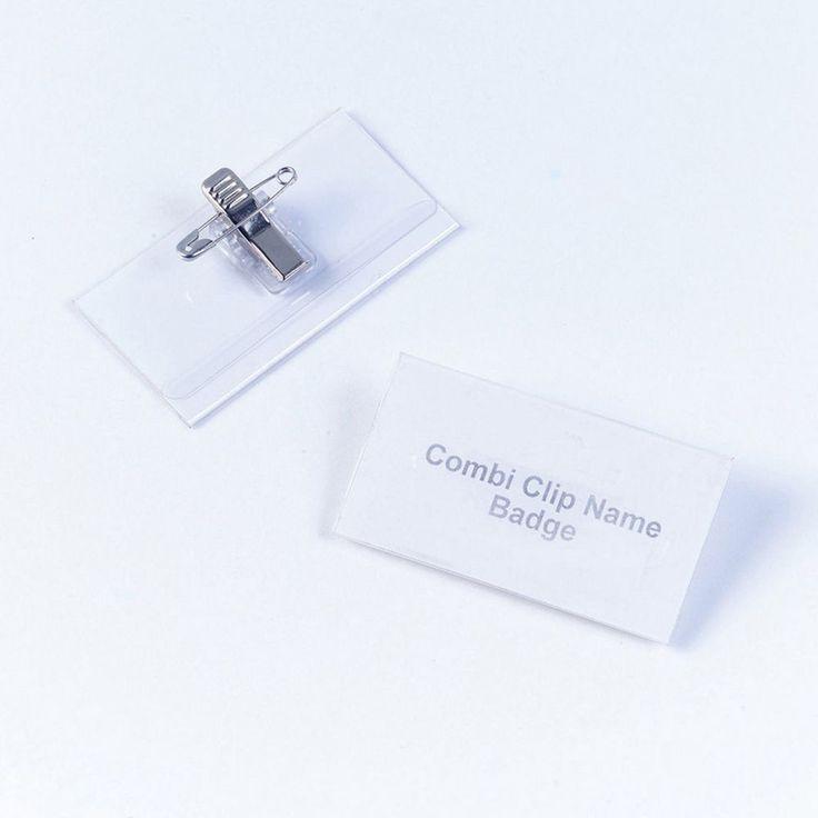 Staples Combi-Clip naambadge, 40 x 75 mm, transparant, PVC