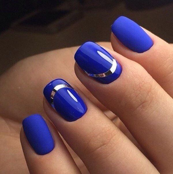 Blue matte nails, Blue nails ideas, Matte nails, Matte nails with glossy pattern, Nails ideas 2017, Office nails, Plain nails, Shellac nails 2017