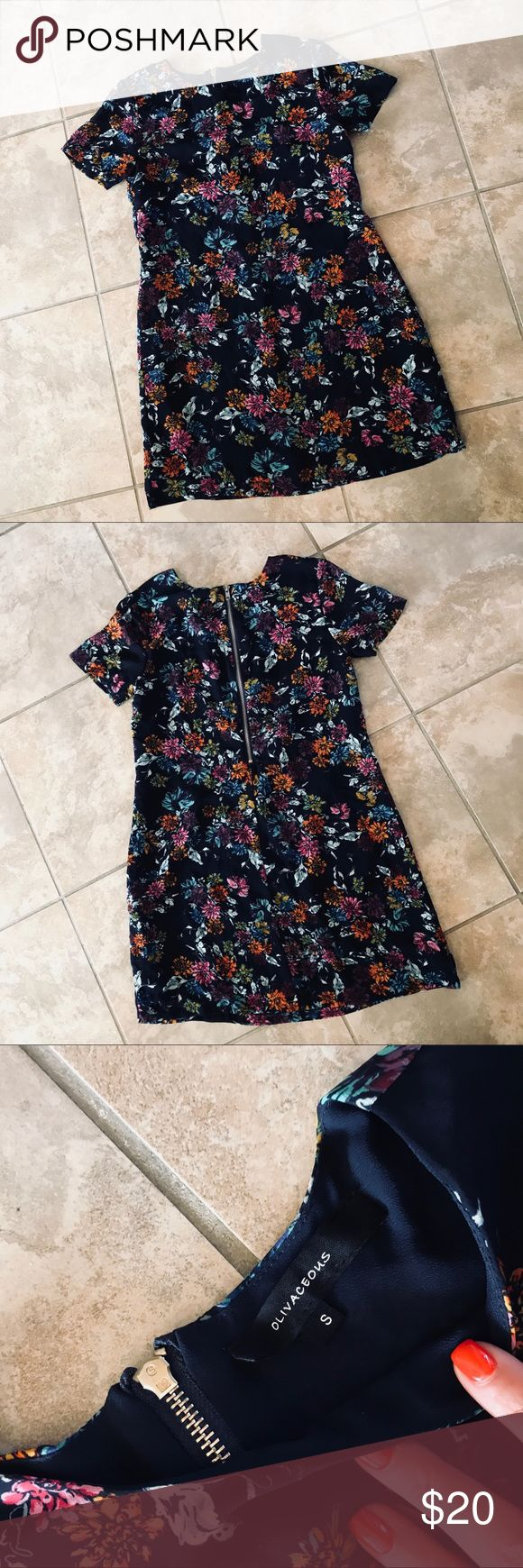 FLORAL CHIFON DRESS Navy blue with a bright floral pattern! So chic and so cute for summer or spring time ✨ Olivaceous Dresses Midi