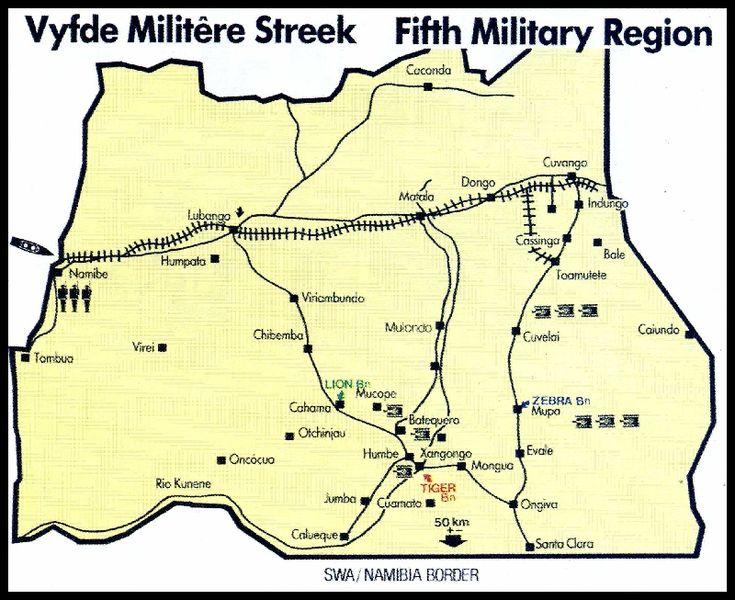 Map of the Fifth Military Region. Kaart van die Vyfde Militere Streek