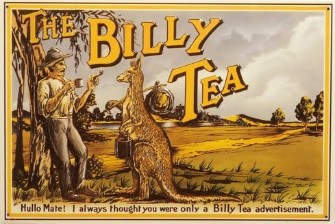 The Billy Tea ad or postcard with scene of man and kangaroo under a tree, both with a bedroll, c. early-mid 20th century, Australia