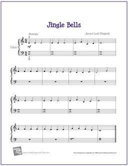Jingle Bells | Christmas Sheet Music for Easy Piano - http://makingmusicfun.net/htm/f_printit_free_printable_sheet_music/jingle-bells-piano-solo.htm
