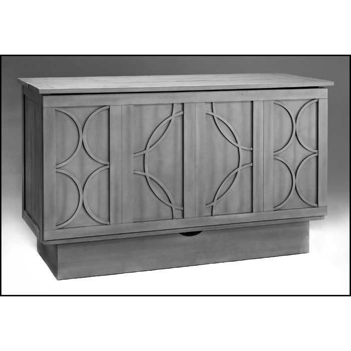 The Essie cabinet bed is constructed from wood and available in black, white, or ash finishes. The unique Tudor-style window paneling will complement your home's transitional decor. The fold-out bed includes a 6-inch queen-size foam mattress that takes standard size sheets.