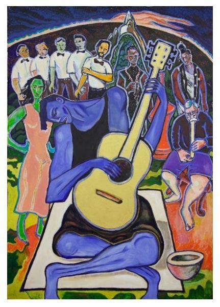 Joe Taihape' (acrylic on loose canvas) by Nigel Brown.
