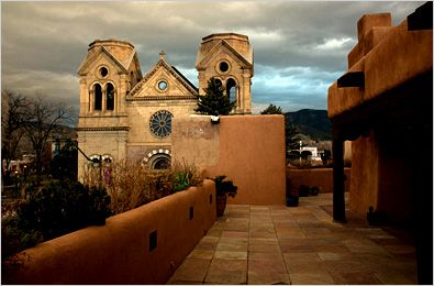photograph from the La Fonda Hotel in Santa Fe.  Photographer unknown to me.  Gorgeous shot of the cathedral.