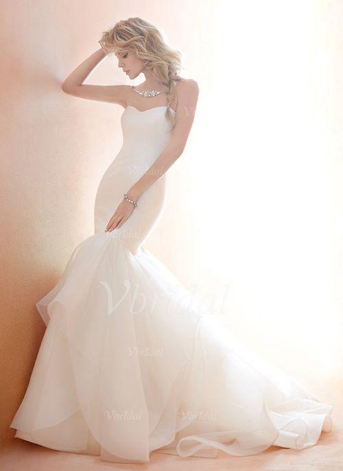 Wedding Dresses - $234.99 - Trumpet/Mermaid Strapless Sweetheart Chapel Train Tulle Wedding Dress With Ruffle (0025056864)