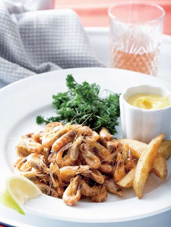 Fried, unpeeled brown shrimp / grey (recipe in dutch) Gefrituurde ongepelde Hollandse garnalen