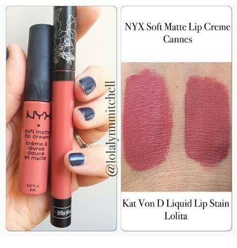 MAKEUP DUPES~ Kat Von Do Liquid Lip Stain in LOLITA vs NYX Soft Matte Lip Cream in CANNES
