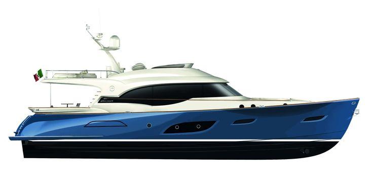 Profile view Mochi Craft - Dolphin 74' Cruiser #yacht #luxury #ferretti #mochi