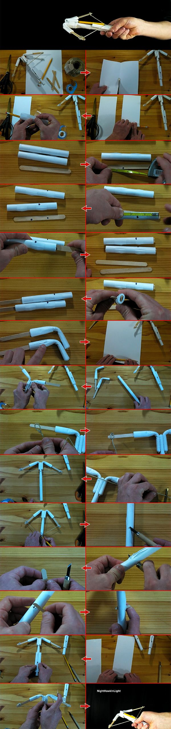 Homemade Toy Crossbow – Making a Pencil Paper Crossbow | BestCoolist---guess if your going squirell hunting. although who would do that? that would be mean, i can even break a branch. not after listening to Ingo Swann and their experiment on plants and how they feel pain.