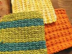 These three dishcloths have lots of texture for scrubbing dishes and, if your tension is exact, you just might get all three from one solid-coloured ball of Sugar 'n Cream cotton!