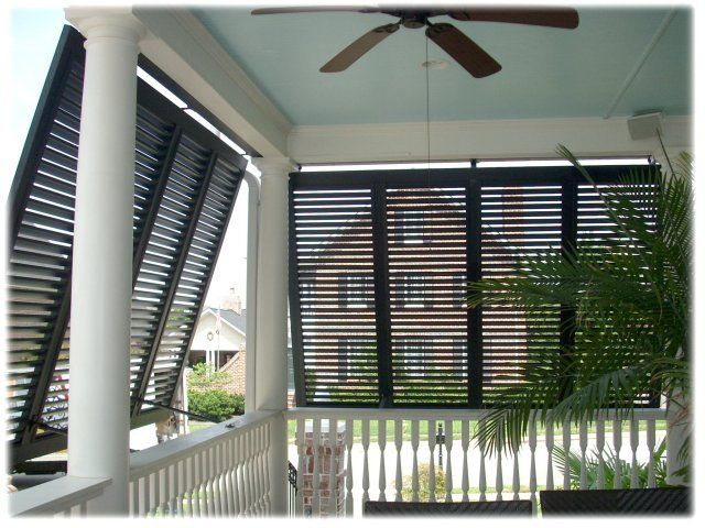 Shutter Designs Ideas my favorite wall of shutters is over at Bahama Porch Shutters Exterior View Decorating Outdoor Shutter