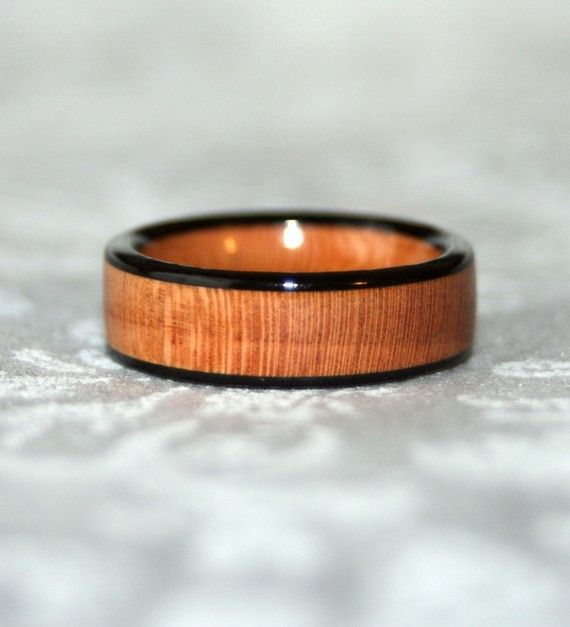 Cherry Wooden Ring with Ebony Edges Custom Made to by MnMWoodworks