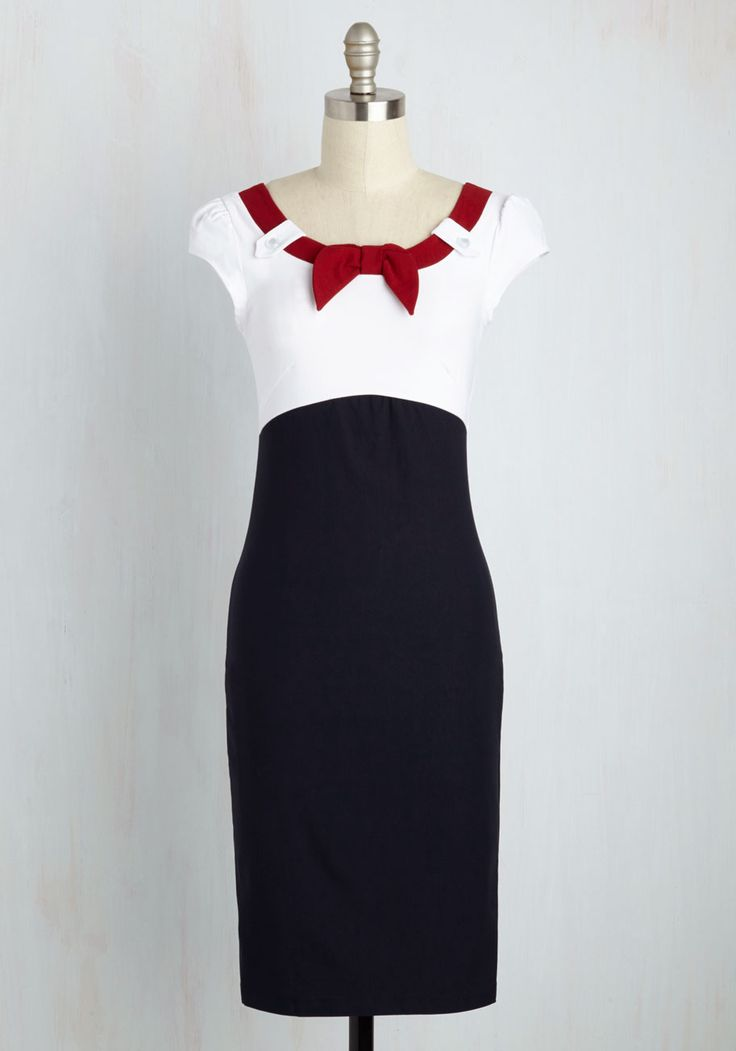 Nod to Nautical Dress. In this perfectly pin-up wiggle dress, you salute the seven seas! #multi #modcloth