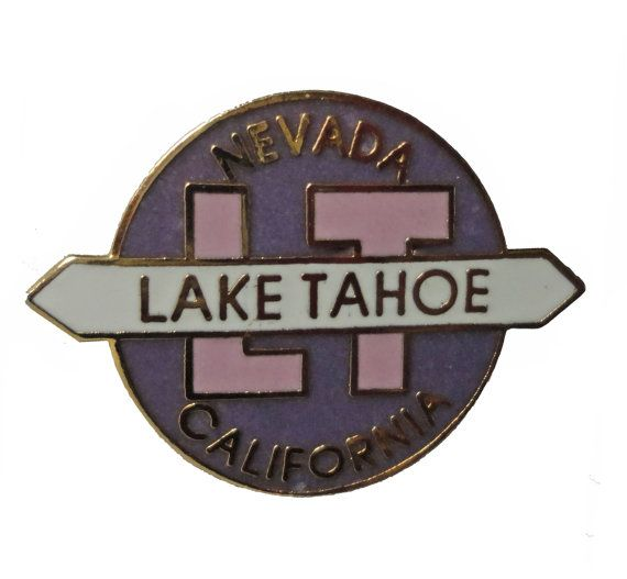 "LAKE TAHOE vintage enamel pin lapel badge Nevada California by VintageTrafficUSA  18.00 USD  A vintage Tahoe pin! Excellent condition. Measures: approx 1"" 20 years old hard to find vintage high-quality cloisonne lapel/pin. Beautiful die struck metal pin with colored glass enamel filling. Have some individuality = some flair! Add inspiration to your handbag tie jacket backpack hat or wall. -------------------------------------------- SECOND ITEM SHIPS FREE IN USA!!! LOW SHIPPING OUTSIDE USA…"